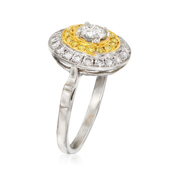C. 2000 Vintage .83 ct. t.w. Fancy Yellow and White Diamond Circle Ring in 18kt Two-Tone Gold. Size 5