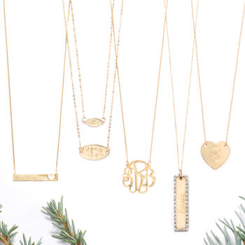 14kt Yellow Gold Name ID Bar Necklace with Cut-Out Heart, , default