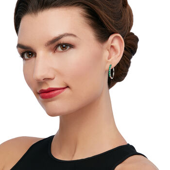 "1.60 ct. t.w. Emerald Hoop Earrings in Sterling Silver. 7/8"", , default"