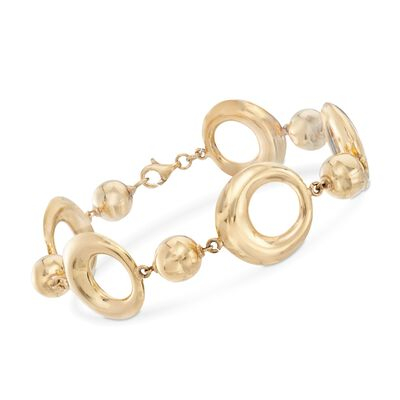 Italian 14kt Yellow Gold Round Bead and Open Circle-Link Bracelet, , default