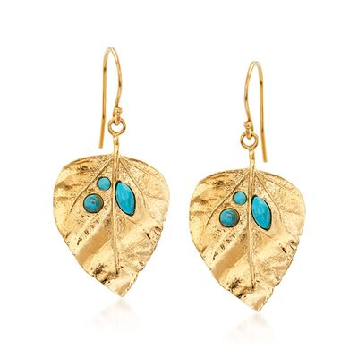 Turquoise and 18kt Gold Over Sterling Leaf Drop Earrings, , default