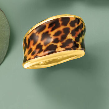 Italian Leopard-Print Enamel Concave Ring in 18kt Gold Over Sterling
