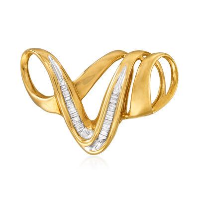 C. 1980 Vintage .25 ct. t.w. Diamond Swirl Slide Pendant in 10kt Yellow Gold
