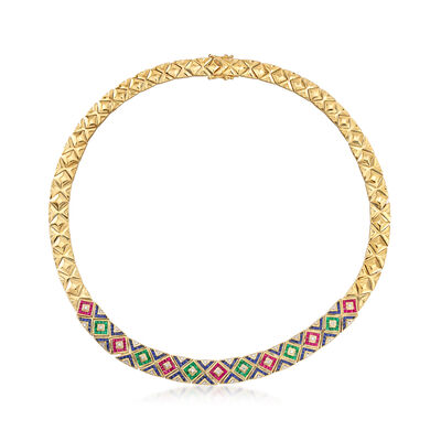 C. 1980 Vintage 12.75 ct. t.w. Multi-Gemstone and .25 ct. t.w. Diamond Necklace in 18kt Yellow Gold, , default