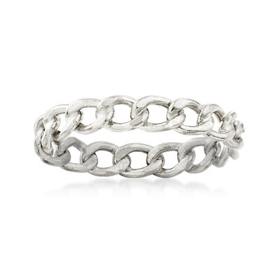 Italian 14kt White Gold Curb-Link Ring, , default