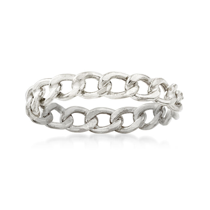 Italian 14kt White Gold Curb-Link Ring