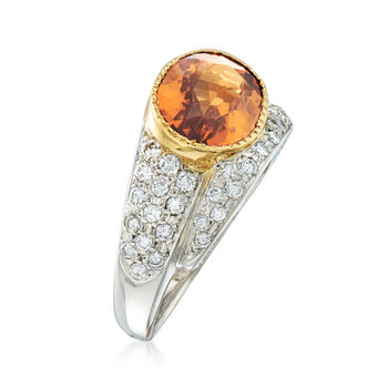 C. 2000 Vintage 3.83 Carat Hessonite and .39 ct. t.w. Diamond Ring in 18kt Yellow Gold and Platinum. Size 6, , default