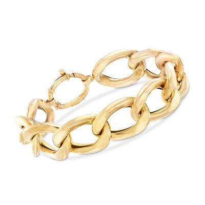 Italian 14kt Yellow Gold Large Curb-Link Bracelet, , default