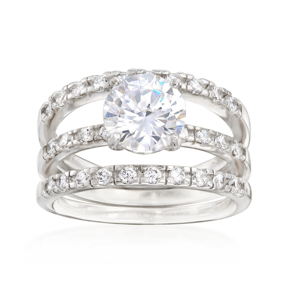 T W Cz Bridal Set Engagement And Two Wedding Rings In Sterling Silver