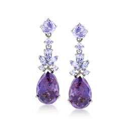 Purple Turquoise and 1.70 ct. t.w. Tanzanite Drop Earrings in Sterling Silver, , default