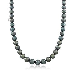 "Mikimoto 8.1-10.8mm A+ Black South Sea Pearl Necklace With 18kt White Gold and Diamond Accent. 17.25"", , default"