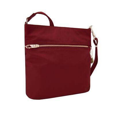 "Travelon ""Anti-Theft Tailored"" Garnet-Red Nylon Twill North/South Slim Bag, , default"