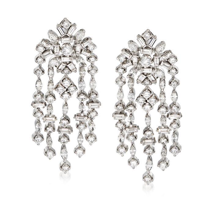 C. 1990 Vintage Diamond 10.00 ct. t.w. Chandelier Drop Earrings in Platinum
