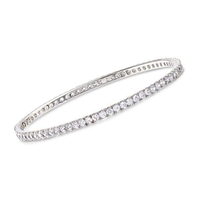 4.25 ct. t.w. CZ Bangle Bracelet in Sterling Silver, , default