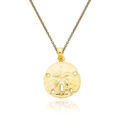14kt Yellow Gold Sand Dollar Pendant Necklace, , default