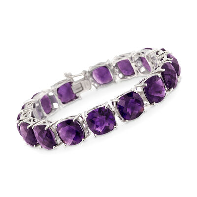 55.00 ct. t.w. Amethyst Tennis Bracelet in Sterling Silver, , default