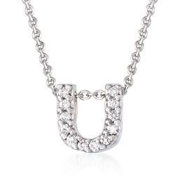 "Roberto Coin ""Tiny Treasures"" Diamond Accent Initial ""U"" Necklace in 18kt White Gold. 16"", , default"