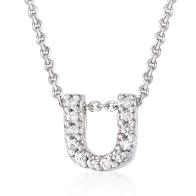 "Roberto Coin ""Tiny Treasures"" Diamond Accent Initial ""U"" Necklace in 18kt White Gold, , default"