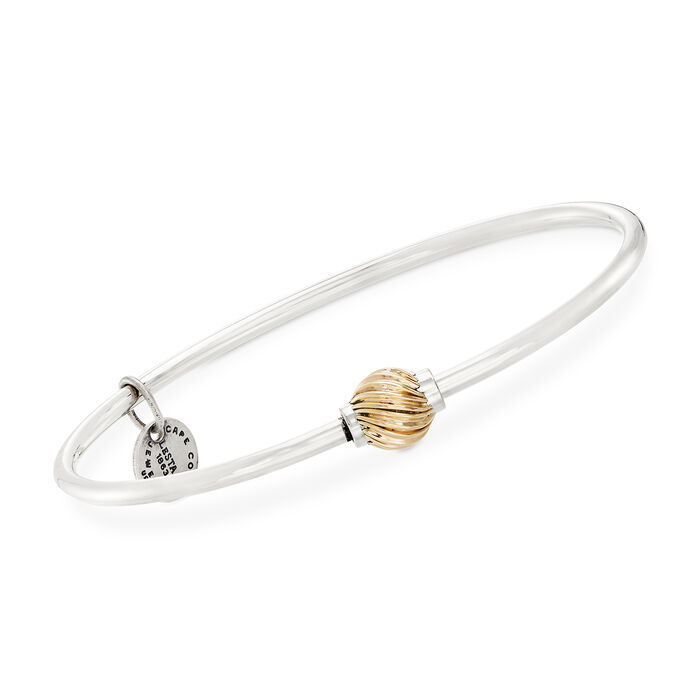 Sterling Silver and 14kt Yellow Gold Single Swirled Bead Bangle Bracelet, , default