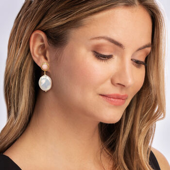 Italian 18-20mm Cultured Pearl and Coral Drop Earrings in 18kt Gold Over Sterling