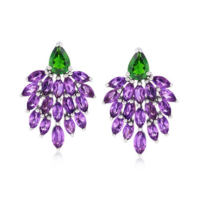 4.60 ct. t.w. Amethyst and 1.20 ct. t.w. Diopside Cluster Earrings in Sterling Silver, , default