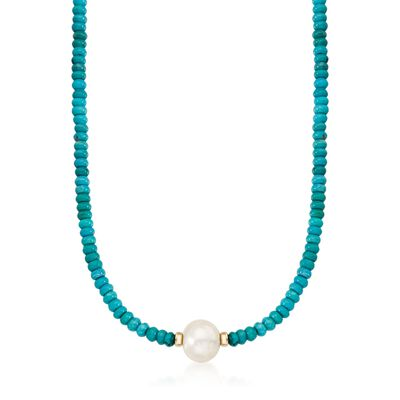 Turquoise Bead and 12-13mm Cultured Pearl Necklace in 14kt Yellow Gold, , default