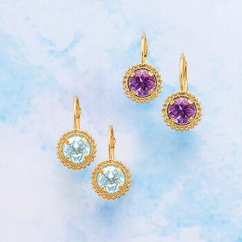 .80 ct. t.w. Amethyst Beaded Drop Earrings in 14kt Yellow Gold, , default