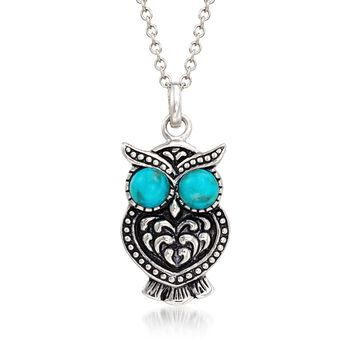 Turquoise Owl Pendant Necklace in Sterling Silver, , default