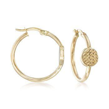 "14kt Yellow Gold Hoop Earrings With Diamond-Cut Discs. 7/8"", , default"
