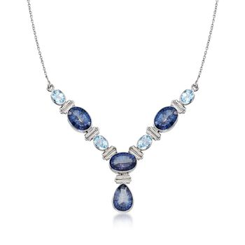 20.25 ct. t.w. Violet Quartz and 6.75 ct. t.w. Blue Topaz Y-Necklace in Sterling Silver, , default