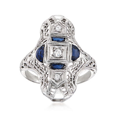 C. 1990 Vintage .30 ct. t.w. Simulated Sapphire and Diamond-Accented Dinner Ring in 18kt White Gold, , default