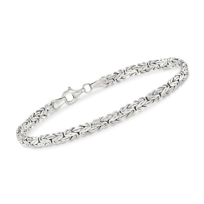 Sterling Silver Flat Byzantine Bracelet, , default