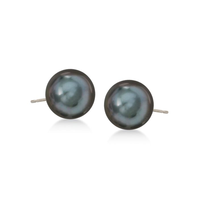 11-12mm Black Cultured Tahitian Pearl Earrings in 14kt White Gold, , default