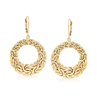 14kt Yellow Gold Byzantine Open Circle Drop Earrings, , default