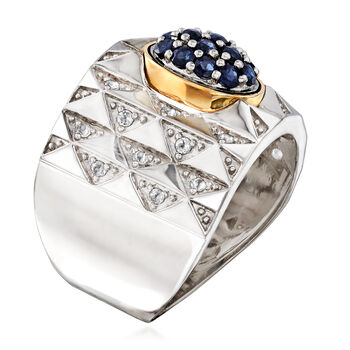 .50 ct. t.w. Sapphire and .20 ct. t.w. White Topaz Ring in Sterling Silver and 14kt Yellow Gold