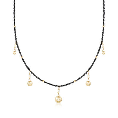 18.00 ct. t.w. Black Spinel and .55 ct. t.w. Diamond Bead Necklace with 14kt Yellow Gold, , default