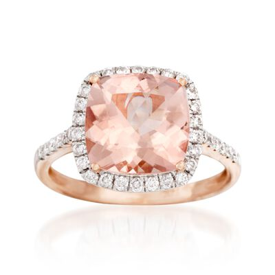 3.20 Carat Morganite and .38 ct. t.w. Diamond Ring in 14kt Rose Gold, , default