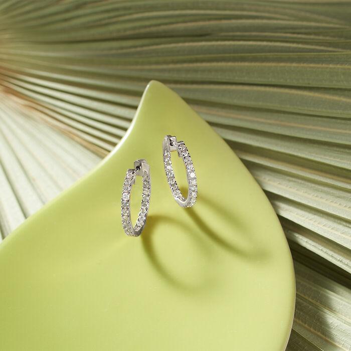 1.50 ct. t.w. Diamond Inside-Outside Hoop Earrings in 14kt White Gold