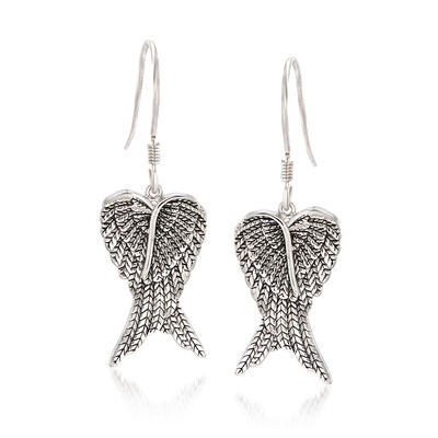 Sterling Silver Angel Wing Drop Earrings, , default
