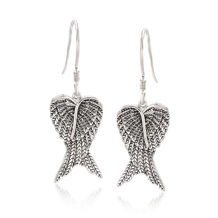 Sterling Silver Angel Wing Drop Earrings, , default