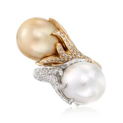 12-18mm White and Golden Cultured South Sea Pearl Bypass Ring With Diamonds in 18kt Two-Tone Gold, , default