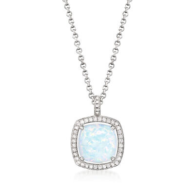 Charles Garnier Simulated Opal and .32 ct. t.w. CZ Pendant Necklace in Silver Plate