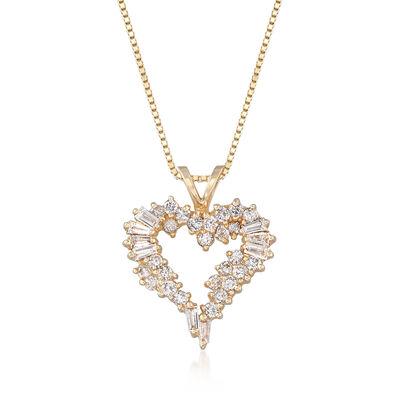 C. 1990 Vintage 1.00 ct. t.w. Diamond Heart Pendant Necklace in 14kt Yellow Gold, , default