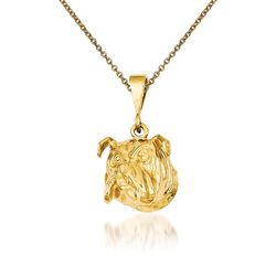 "14kt Yellow Gold Bulldog Pendant Necklace. 18"", , default"