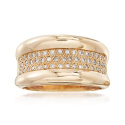 C. 1990 Vintage .50 ct. t.w. Pave Diamond Wide Ring in 14kt Yellow Gold. Size 7.5, , default