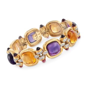 """C. 1980 Vintage 59.20 ct. t.w. Multi-Stone and .78 ct. t.w. Diamond Bracelet in 18kt Yellow Gold. 7.25"""", , default"""
