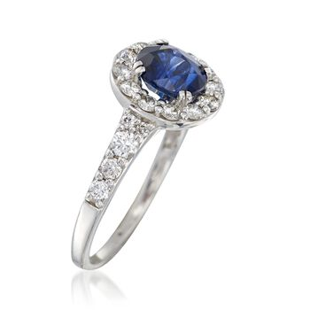 C. 2000 Vintage 1.58 Carat Sapphire and .70 ct. t.w. Diamond Ring in 14kt White Gold. Size 5.75, , default