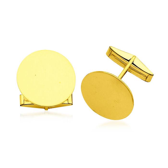 14kt Yellow Gold Three-Initial Circular Cuff Links, , default