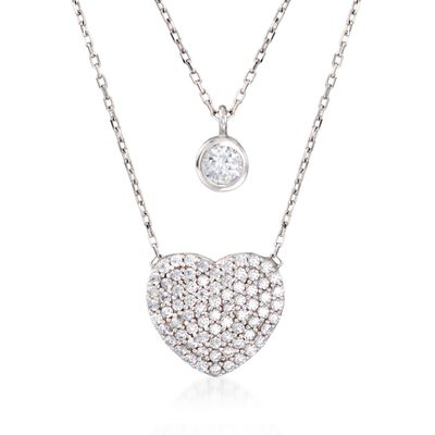 1.00 ct. t.w. CZ Layered Heart and Solitaire Necklace in Sterling Silver, , default