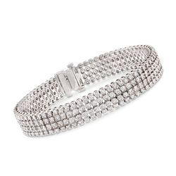"7.00 ct. t.w. Multi-Row Diamond Bracelet in 14kt White Gold. 7"", , default"